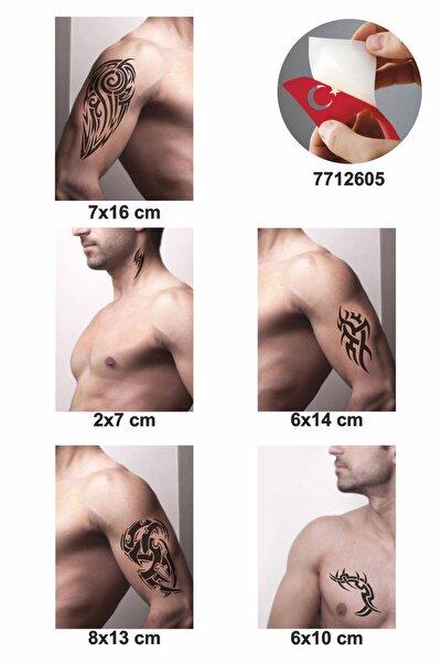 ONE SPRAY TATTOO Tribal Kol Dövmeleri Siyah Tattoo Sprey Ve 5 Adet Geçici Dövme Deseni Seti
