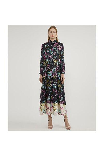 Aker Kemerli Desenli Elbise V42830158