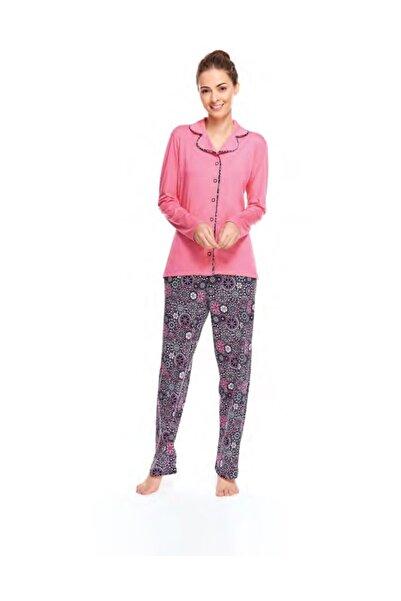 Çift Kaplan 7520 Kadın Geometrik Gömlek Yaka Pijama Takım