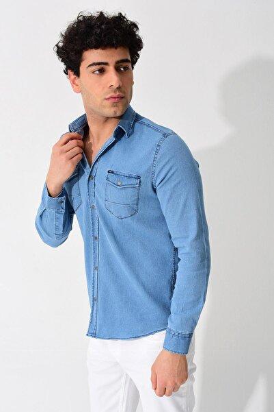 Erkek Mavi Kot Uzun Kol  Çift Cepli Çıtçıtlı Gömlek 0YEGMBSC006