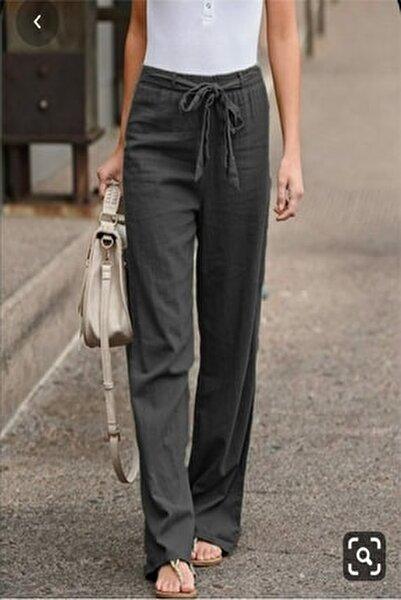 Beli Lastikli Kuşak Detaylı Keten Pantolon