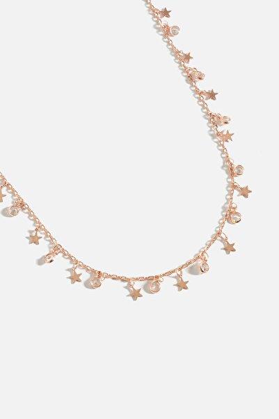 Yıldız Figürlü Zirkon Taşlı Rose Gold Kolye