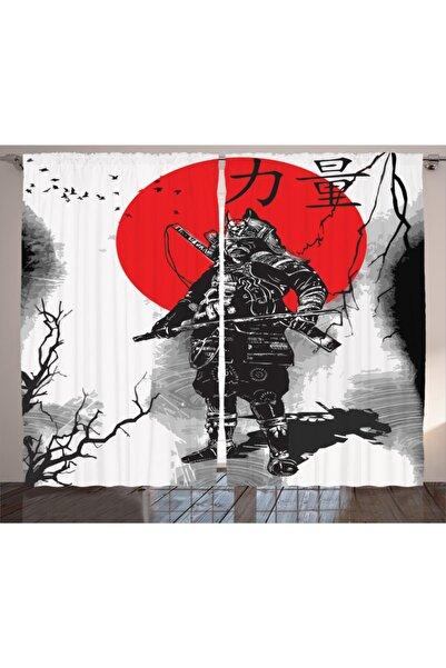 Orange Venue Hobiler Perde Sanatsal Japon Savaşçı Temalı