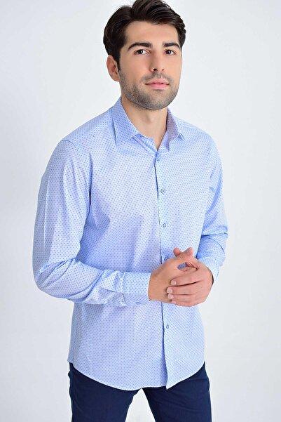 Hatemoğlu Desenli Regular Mavi Gömlek 19D190000007