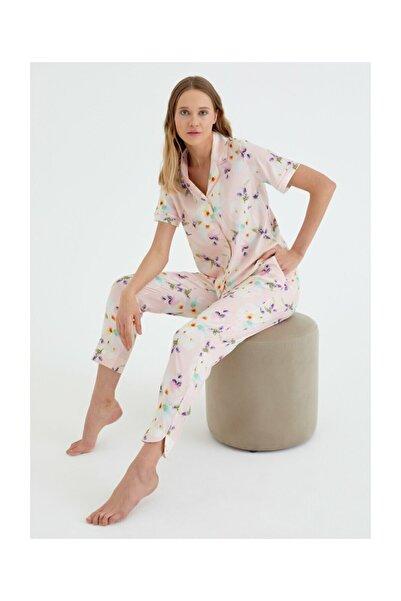 Kadın Pembe Baskili Summer Flower Maskulen Pijama Takımı