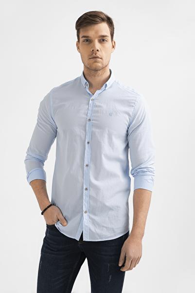 Erkek Açık Mavi Düz Düğmeli Yaka Slim Fit Uzun Kol Vual Gömlek A01S2206