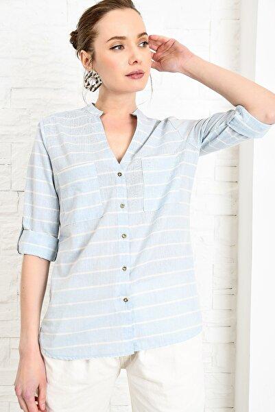 Kadın Mavi Hakim Yaka Çift Cep Poplın Gömlek DNZ-3148-REW