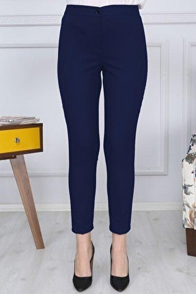 Lacivert Kemerli Dar Paça Kumaş Pantolon Likralı Cepsiz G011