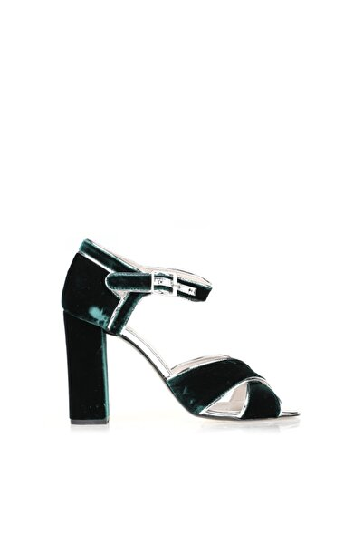 Cengiz Gümüş Yeşil Kadife Kadın Ayakkabı