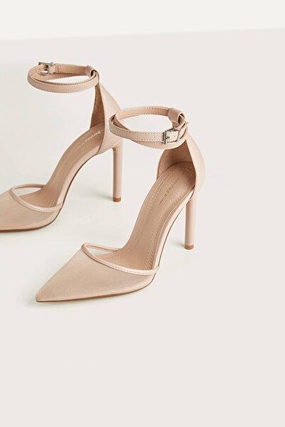 Bershka Kadın Bej Pembe Fileli Yüksek Topuklu Ayakkabı 11950560