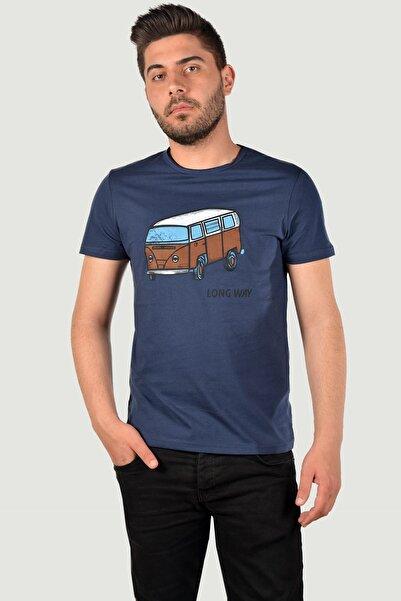 Terapi Men Erkek Bisiklet Yaka Baskılı T-Shirt 20K-3400627 Lacivert