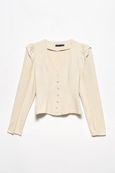 Dilvin Kadın Dik Omuzlu V Yakalı Gömlek-Natural 101A05789