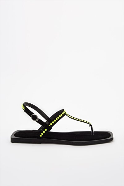 TRENDYOLMİLLA Sarı Neon Taşlı Kadın Sandalet TAKSS20SD0079