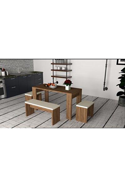 Puzzle Design Asrina Ceviz Masa Sandalye Tabure Takımı