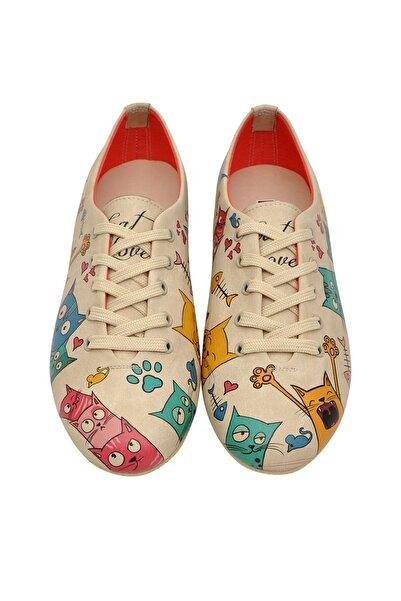 Dogo Cat Lovers / Tasarım Baskılı Vegan / Oxford Kadin Ayakkabi