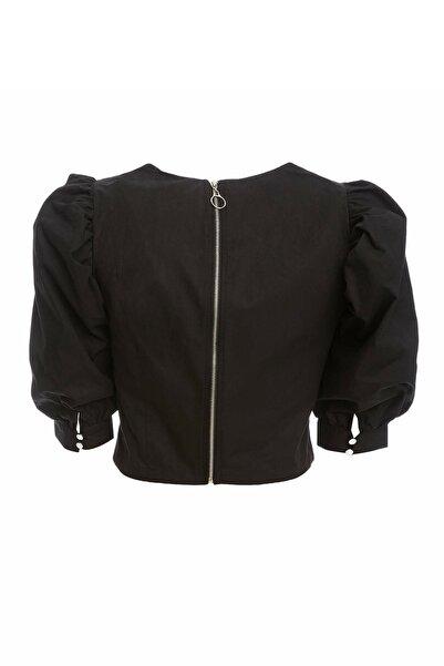 Kadın Siyah Pile Detaylı Bluz R1069AZ.20SP.BK27