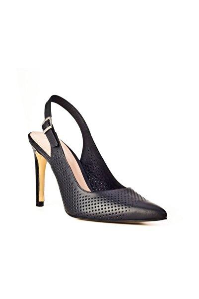 Cabani Hakiki Deri Siyah Kadın Topuklu Ayakkabı 9YBB65AY006700