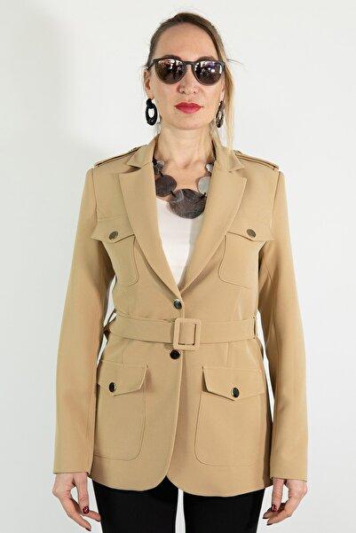 Lefon Kadın Cepli Kemerli Blazer Ceket