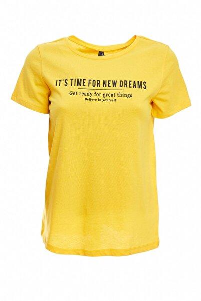 Kadın Sarı Baskılı Kısa Kollu T-Shirt N8965AZ.20SM.YL201