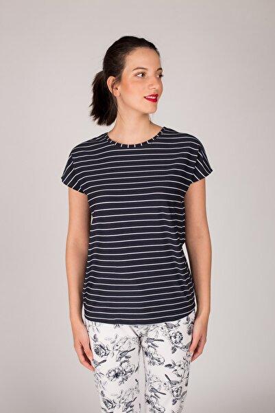 Hays Kadın Lacivert Düşük Kollu Enine Çizgili T-Shirt