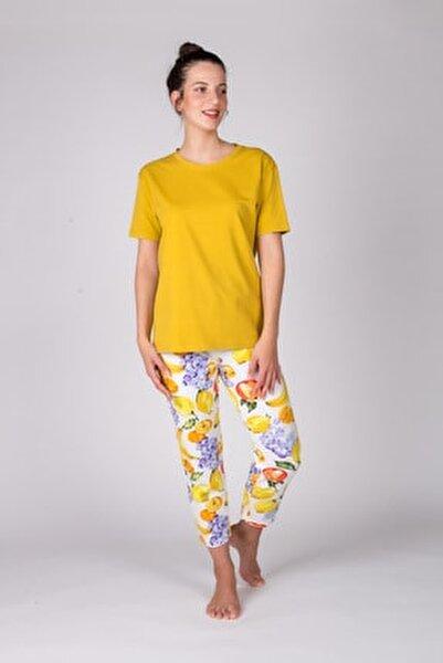 Kadın Hardal Kısa Kollu Midi Pijama Takımı