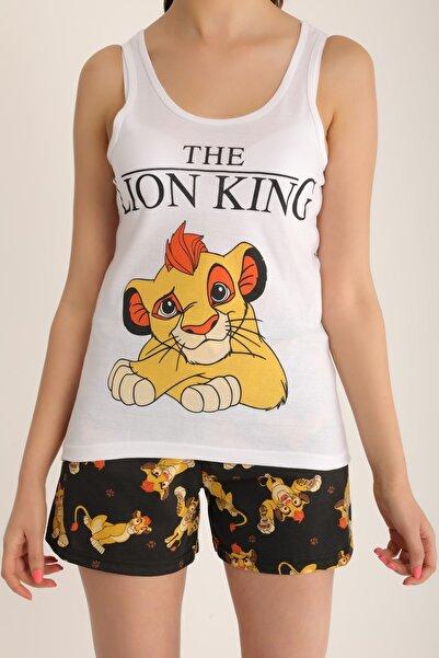 MD trend Kadın Beyaz Lion King Baskılı Şortlu Pijama Takımı Mdt4918