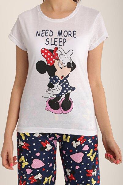 MD trend Kadın Beyaz Mickey Baskılı Pijama Takımı Mdt4906