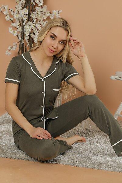 Kadın Yeşil Düğmeli Pijama Takım