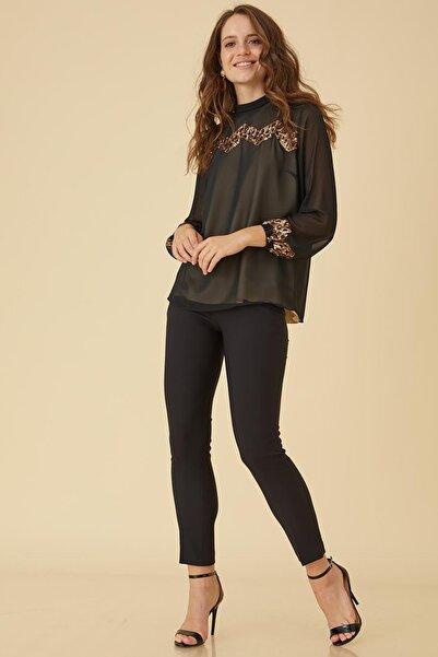 Kayra Kadın Önü Pullu Bluz Siyah B9 10102 KA-B9-10102
