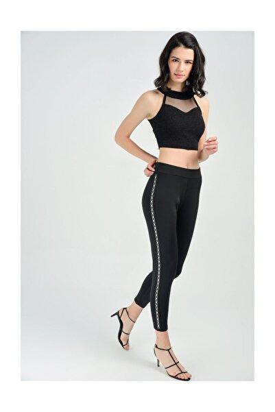 Sense Kadın Siyah Yanları Taş İşlemeli Beli Lastikli Dalgıç Pantolon Pnt31566