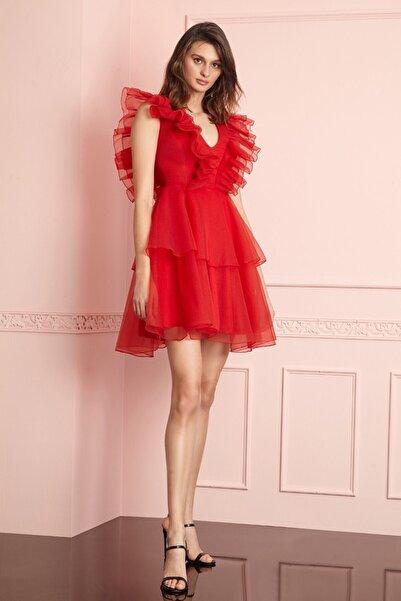 Keikei Kırmızı Tül Kolsuz Kısa Elbise