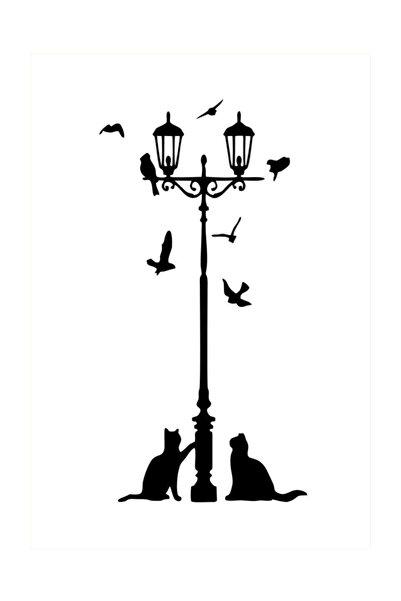 Oracal Sokak Lambası Sticker. Kuşlar, Kedi,oda Sticker. Ev Yaşam, 115 X 60 cm