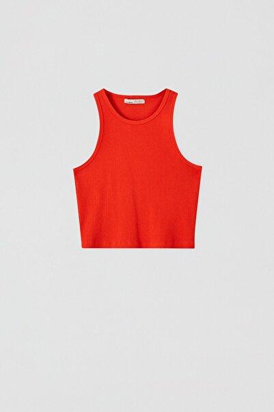 Kadın Mercan Kırmızı Fitilli Kolsuz Crop Top 05236344