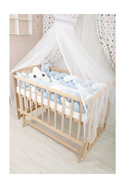 Bebekonfor Kademeli Mavi Örgü Koruma Ile Doğal Elyaza Bebek Beşiği