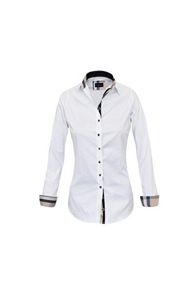 Kadın Beyaz Slim Fit Gömlek