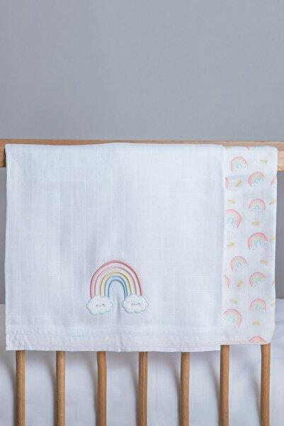 Chakra Rainbow Müslin Bezi 2'Li Set Beyaz-Desenli - 120x120
