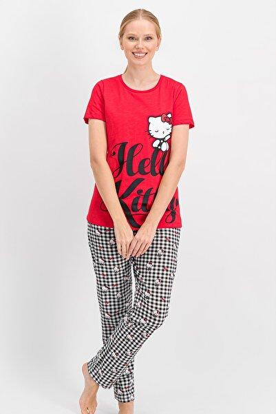 Hello Kitty Kadın Lisanslı Kırmızı Pijama Takımı