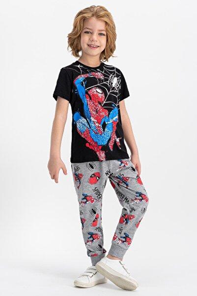 Spider Man Lisanslı Siyah Erkek Çocuk Pijama Takımı