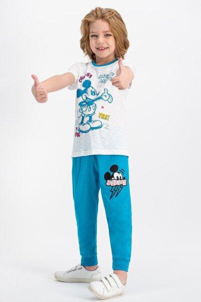 Mickey Mouse Lisanslı Krem Erkek Çocuk Pijama Takımı