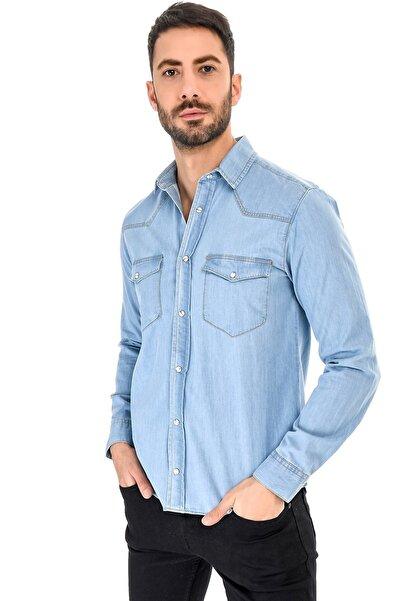 VENA Axel Dırty Med Blue Denim Gömlek