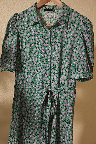 Yeşil Kuşaklı Gömlek Elbise TWOSS20EL1559
