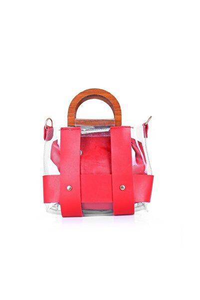Oblavion Ahşap Saplı Kırmızı Kadın Mini Kol Çanta 1002
