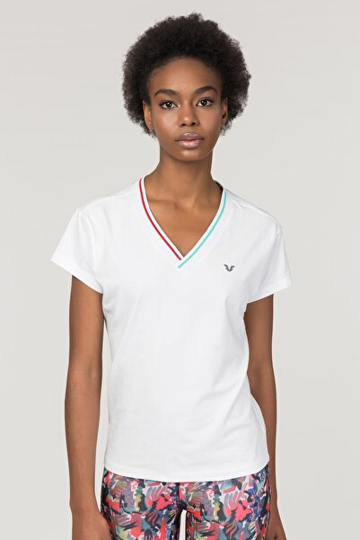 Beyaz Sırt Detaylı Kadın  T-Shirt FS-1120