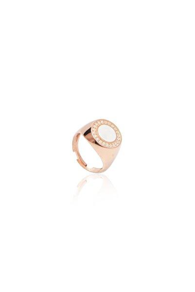 Ortası Beyaz Mineli Serçe Parmak Yüzüğü
