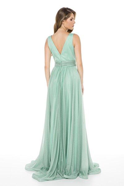 Mint Bel Detaylı Sırtı V Büyük Beden Uzun Abiye Elbise