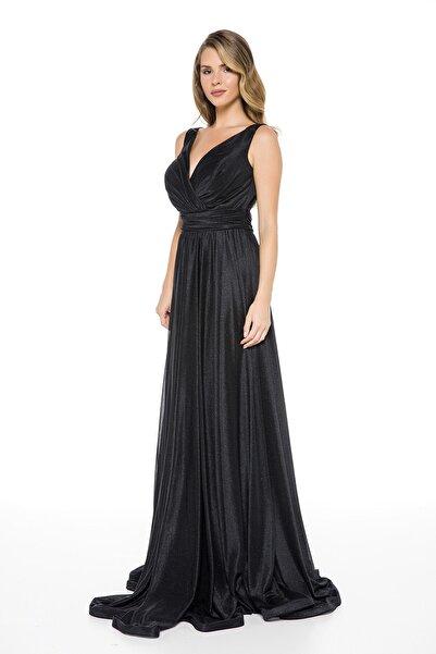 Siyah Bel Detaylı Sırtı V Büyük Beden Uzun Abiye Elbise