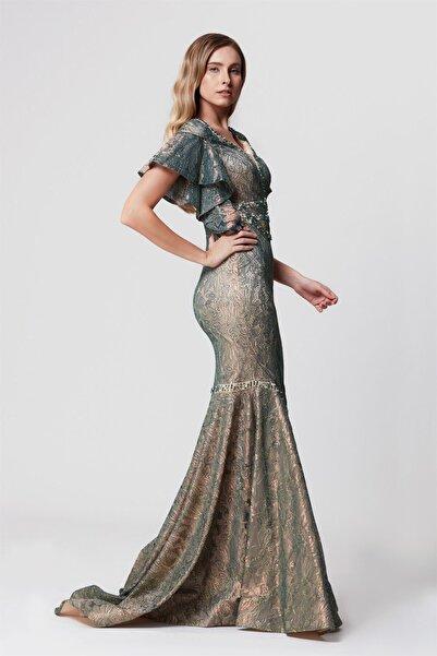 Kadın Yeşil Taş Işlemeli Volanlı Balık Uzun Abiye