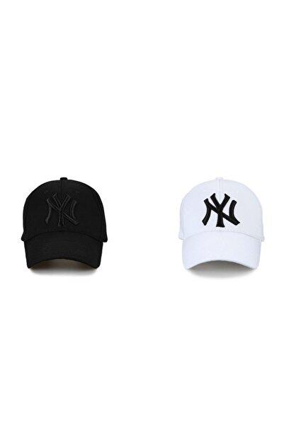 NY New York Unisex 2'li Set Şapka [Siyah-Beyaz]