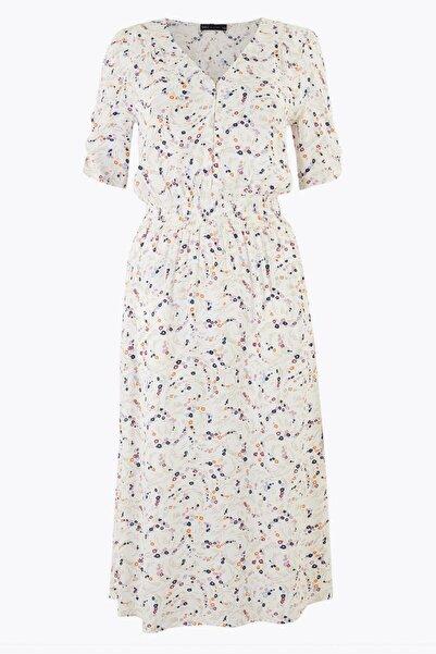 Marks & Spencer Kadın Bej Çiçek Desenli V Yaka Midi Elbise T42008367