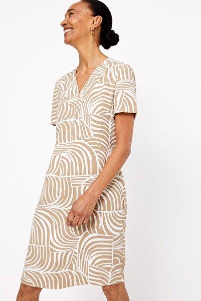 Marks & Spencer Kadın Bej Desenli V Yakalı Elbise T42008374